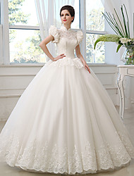 Princess Wedding Dress Floor-length High Neck Tulle with Lace