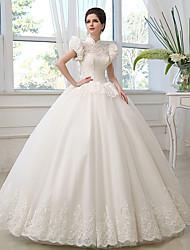 Принцесса Свадебное платье В пол Вырез под горло Тюль с Кружева