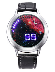 Fashion Men's Black Leather Colorful Stars Date Digital LED Watch Bracelet Sport Watches