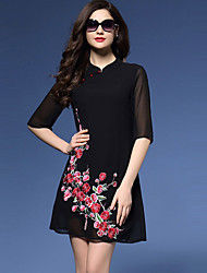 Women's Daily Chinoiserie Plus Size / A Line Dress,Embroidered Stand Above Knee ½ Length Sleeve Black Polyester Spring