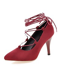 salto saltos sapatas fleece estilete das mulheres / escritório saltos toe pointed&carreira / ocasional preto / vermelho