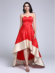TS Couture Prom Formal Evening Dress - Color Block A-line Sweetheart Asymmetrical Stretch Satin with Sash / Ribbon