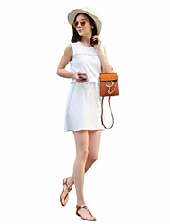 Women's Casual/Daily Street chic Sheath Dress,Solid Round Neck Above Knee Sleeveless White Linen Summer