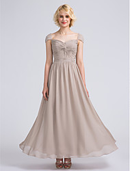 LAN TING BRIDE Ankle-length Sweetheart Bridesmaid Dress - Elegant Short Sleeve Chiffon