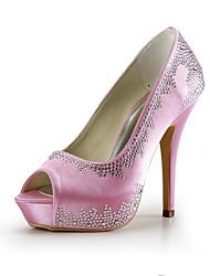Women's Shoes Silk Stiletto Heel Heels / Peep Toe Heels Wedding / Party & Evening / Dress Blue / Red / White / Beige