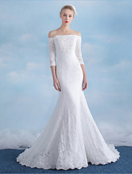 Trumpet / Mermaid Wedding Dress Court Train Off-the-shoulder Lace / Sequined with Appliques / Beading