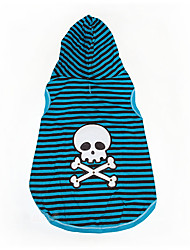 Gatos / Perros Disfraces / Camiseta Azul Verano / Primavera/Otoño Rayas / Cráneos Halloween, Dog Clothes / Dog Clothing-Other