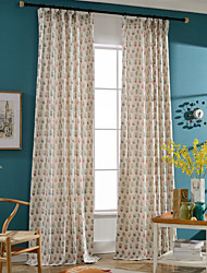 Linen Bright-coloured Flowerpot Printing Curtain (Two Panel)