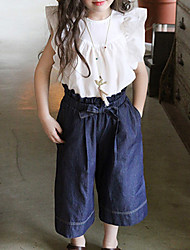 Girl's Casual/Daily Solid Pants,Cotton Summer Black / White