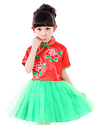 Performance Dresses Children's Performance Polyester Sequins 1 Piece Short Sleeve Natural DressDress Length:S:53cm M:55cm L:57cm XL:61cm