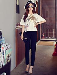 rosa Doll® Feminino Cintura Alta Justas/Skinny Preta Casual / Wear to work Calças-X15BTR021