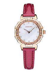 Women's Fashion Watch Casual Watch Quartz Japanese Quartz Leather Band White Red Pink
