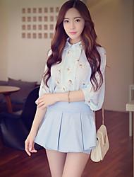 Rosa Doll® Damen Hemdkragen 3/4 Ärmel Shirt & Bluse Hellgrün-X15BST046