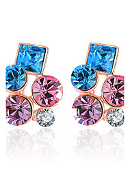 Earring Geometric Jewelry Women Fashion Wedding / Party / Daily / Casual Crystal / Alloy / Rhinestone / Rose Gold Plated 1 pair Rose Gold
