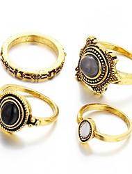 Flower Multi Finger Ring Vintage Luxury Ring Sets for Women Gold Silver Plated(4pcs/set)