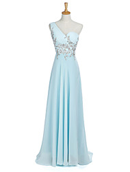 Floor-length Chiffon Bridesmaid Dress - A-line One Shoulder with Appliques
