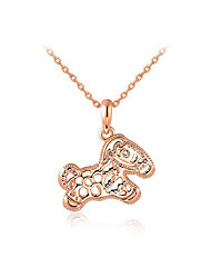 HKTC Women's Lovely Gift Jewelry 18K Rose Gold Plated Crystal Cut-out Horse Pendant Necklace