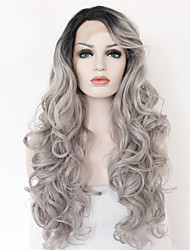 2 Tones Synthetic Lace Front Wig Gray Black Ombre Wavy Wigs Top Quality