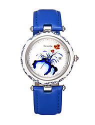 Semdu® Fashion Vintage Chinese Painting Women Quartz Wristwatch Blue and White Porcelain Ceramic Watch