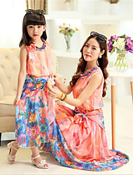 Para Meninas Conjuntos Casual Floral Verão Algodão Manga Curta Vestido