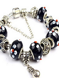 Black Fine Styly Beads Strand Bracelet with Beautiful Pendant Charm Bracelet