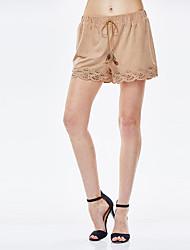 sólido castanho calções calças para senhora heartsoul, simples