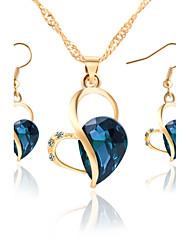 Halskette / Ohrringe Braut-Schmuck-Sets bezaubernd Kubikzirkonia Strass Aleación Dunkelblau Purpur Dunkelgrün Halsketten Ohrringe Für