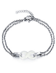 Women Fashion Lovely Charm Bracelets Stainless Steel Ceramic Chain