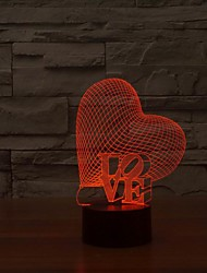 Beautiful Love Shape Touch Control 3D LED Night Lamp as Gift
