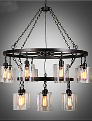 American Country Dining hall Industry Wind Personality Glass Chandelier