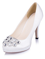 Women's Heels Spring / Summer / Fall / Winter Heels / Platform Satin Wedding / Dress / Party & Evening Stiletto Heel RhinestoneIvory /