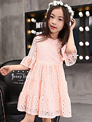 Girl's Cotton Summer Elegance Half Sleeve Lace Princess Dress