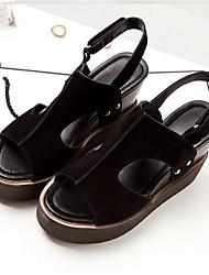 Damen-High Heels-Lässig-PU-BlockabsatzSchwarz Grau