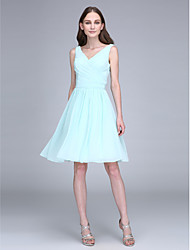Short / Mini Chiffon Bridesmaid Dress - Sheath / Column V-neck with Draping / Criss Cross