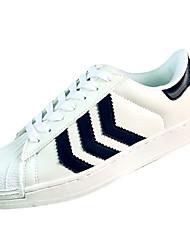 Damen-Flache Schuhe-Lässig-PU-Flacher Absatz-Komfort-Schwarz / Blau / Weiß / Schwarz und Weiss
