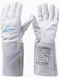 WELADS® 10-1005 Long Sleeve White Cow Green Industrial Welding Gloves