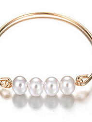 Alloy Pearl Strand Natural Stone Gem Adjustable Cuff Bangle Bracelet