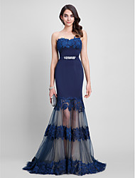 Fit & Flare Sweetheart Sweep / Brush Train Tulle Jersey Formal Evening Dress with Beading Lace Sash / Ribbon by TS Couture®