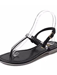 Women's Shoes PU Summer Flip Flops Slippers & Flip-Flops Casual Flat Heel Others Black / Silver
