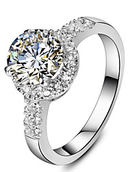 2CT Excellent Round Shape SONA Diamond Ring for Women Sterling Silver in Platinum Plated Engagement Jewelry Semi Mount
