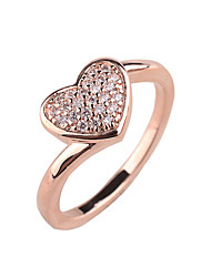 Lady love zircon ring copper material inlaid zircon ring platinum rose gold color