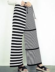 Women's Striped Black Loose Pants,Boho