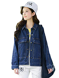 Women's Going out Street chic Loose Preppy Style Fashion Spring Denim Jackets,Solid Shirt Collar Long Sleeve