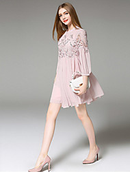 ANGEL  Women's Going out Street chic Loose Dress,Embroidered Stand Above Knee ¾ Sleeve Pink Linen Summer