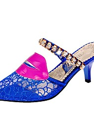 Women's Shoes Libo New Style Lace Kitten Heel Sexy Sunny Sandals Dress / Casual Gold / Royal Blue