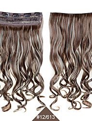 синтетический клип в шиньоны 24inch 60см фигурные волнистые волосы расширения # 12/613 смешанный цвет термостойкий