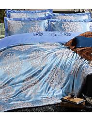 Luxury Jacquard Silk Cotton Queen Size 4pcs Bedding Set Pillowcase Duvet CoverHome Textiles Quilt Cover Flat Sheet