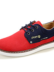 Men's Shoes Suede Work & Duty / Casual Oxfords Work & Duty / Casual Walking Flat Heel Lace-up Black / Blue / Brown / Red