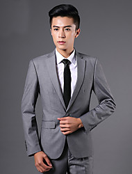 Suits Slim Fit Notch Single Breasted One-button Polyester Solid 2 Pieces Straight Flapped NoneBlack