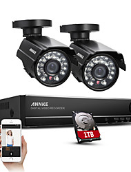 SANNCE® 4CH Full 960H CCTV DVR Video Surveillance Recorder 800TVL Night Vision Weatherproof Cameras Built-in 1TB